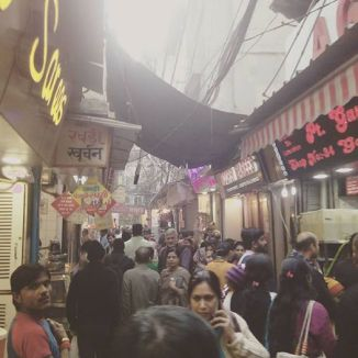 A crowded alley in Old Delhi market.
